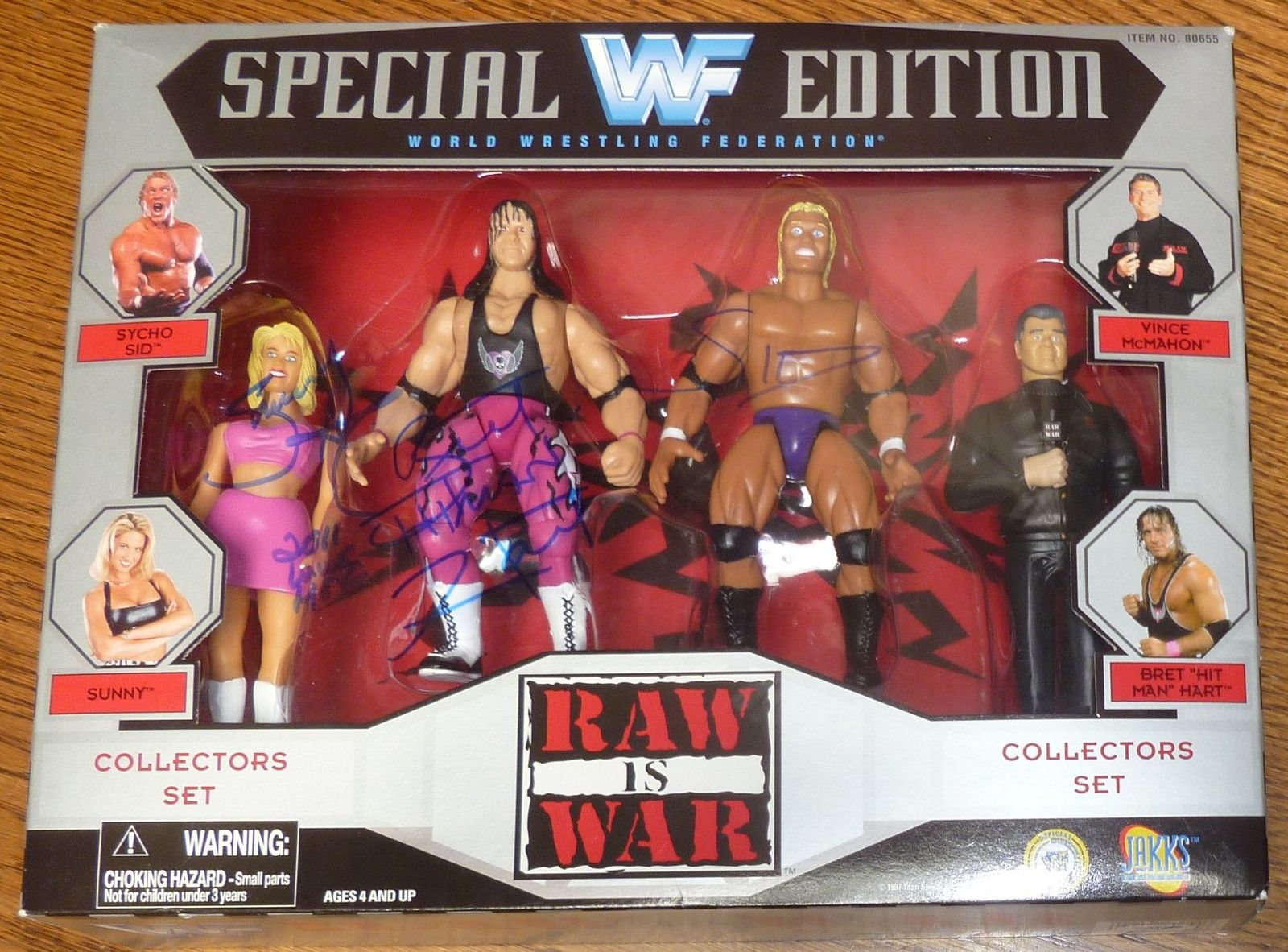 WWF figure collection Sunny Bret Hart Psycho Sid Vince McMahon 1