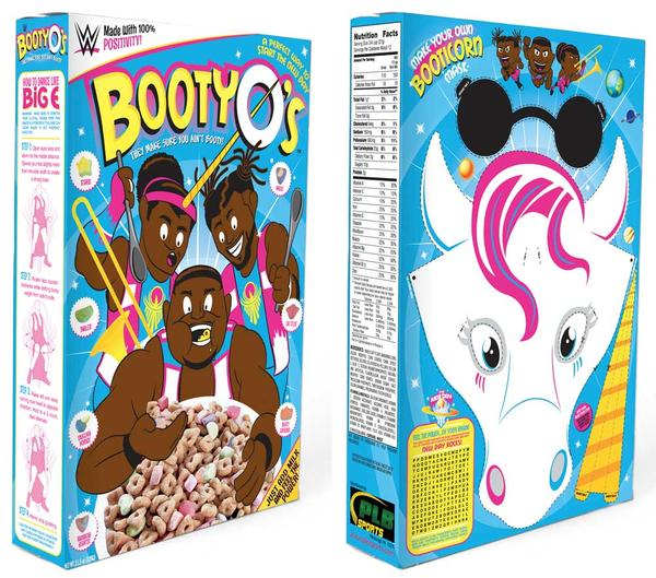WWE New Day Booty O's cereal box front and back