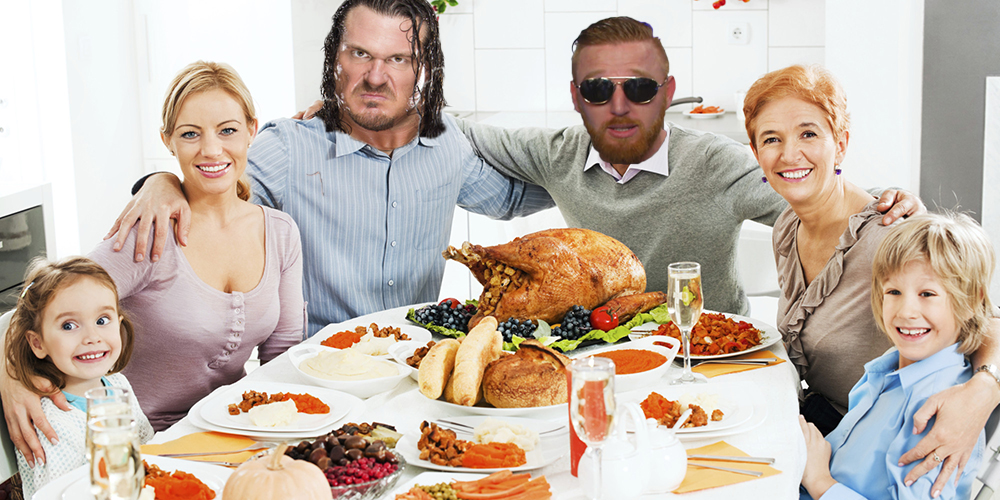 Embraced extended family celebrating Thanksgiving day