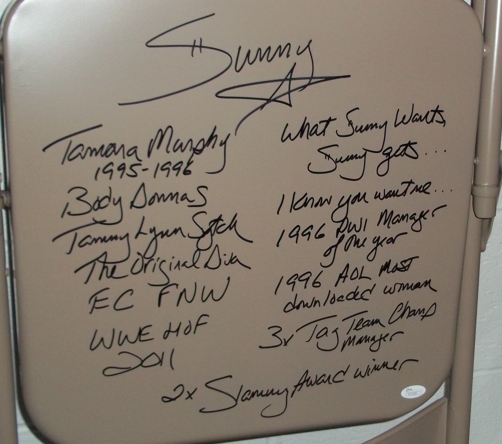 Sunny Tammy Sytch autographed chair 2