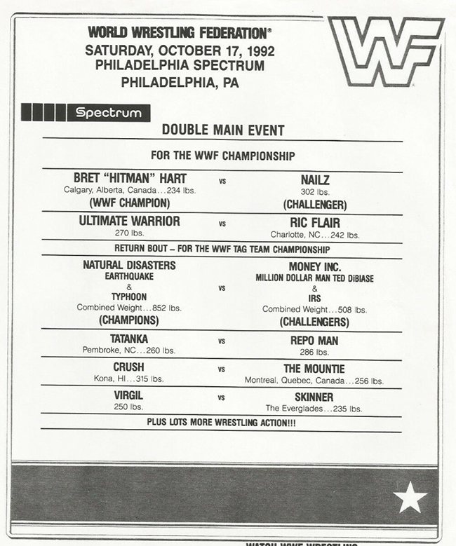 INDUCTION: Old WWF Lineup Cards