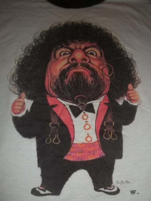 WWF Captain Lou Albano caricature shirt close up