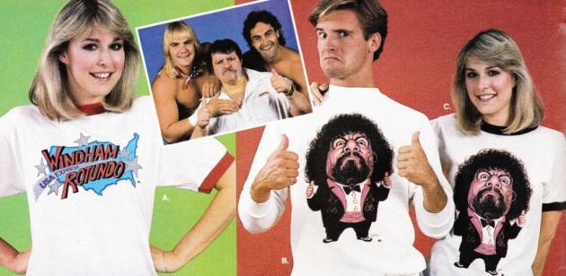 WWF Captain Lou Albano caricature shirt man and woman close up from catalog